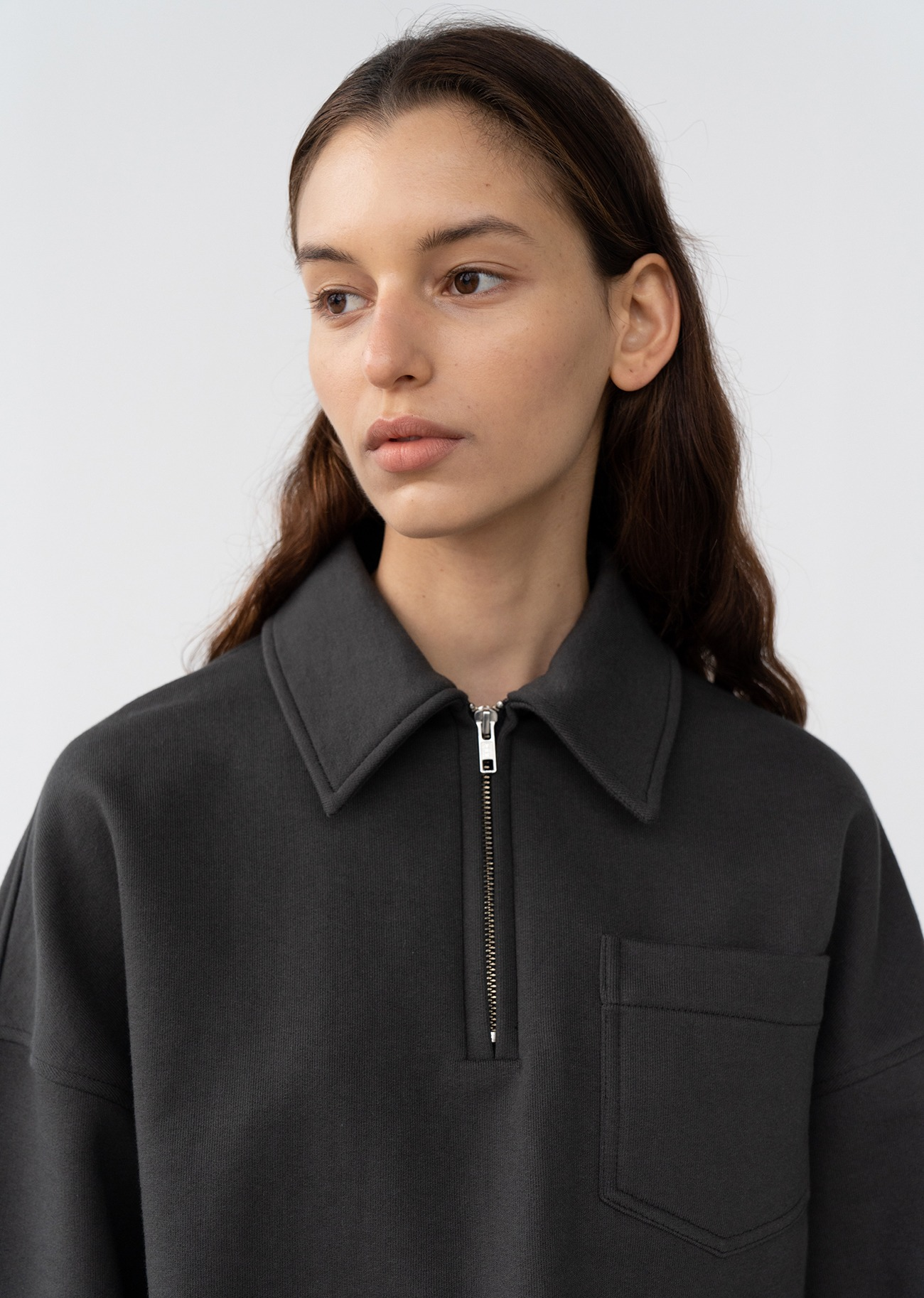 Zip-up detail Collar Sweatshirts - Charcoal grey