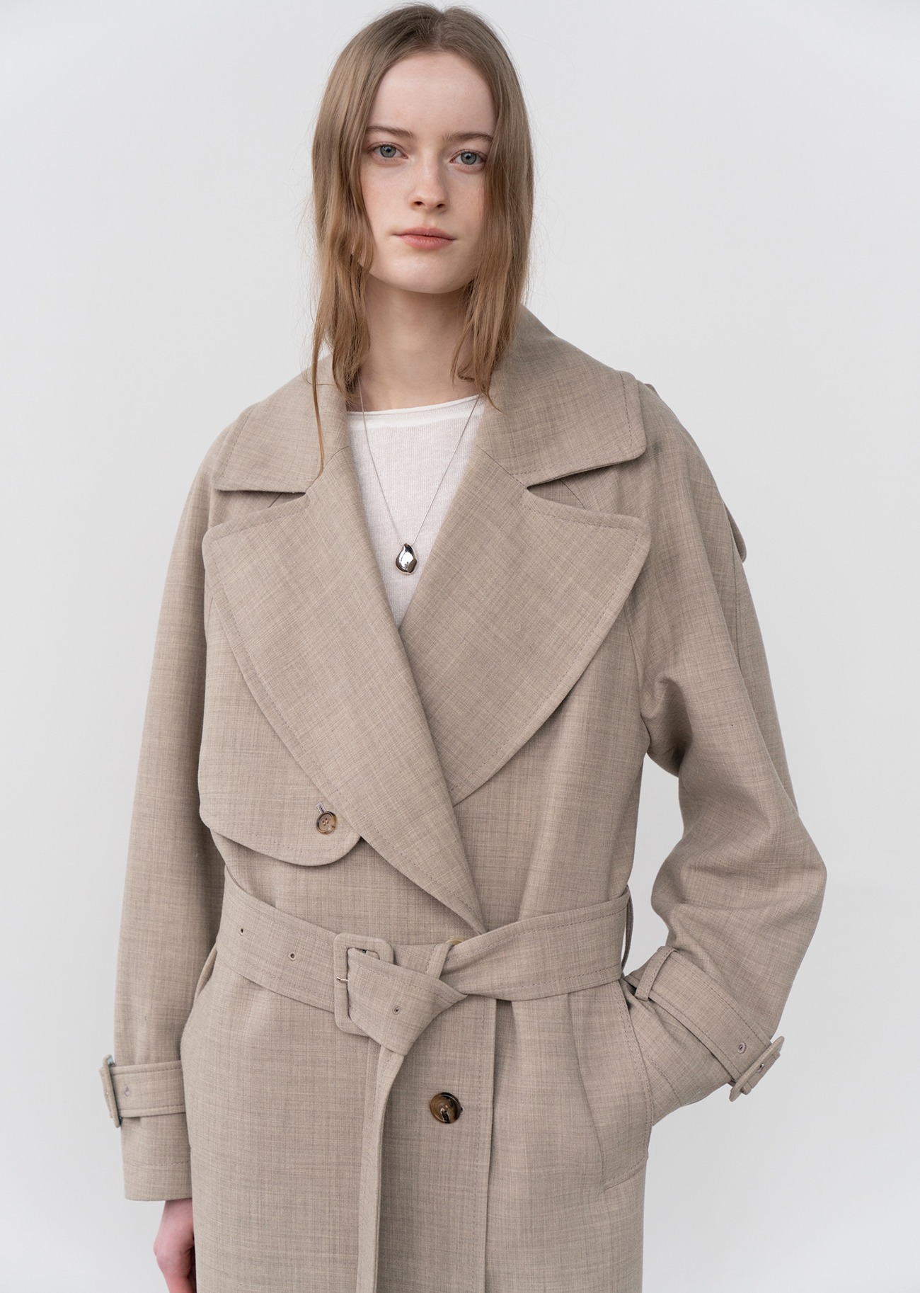 Wide Collar Belted Trench coat - Oatmeal
